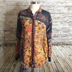 Zara Basic Button Up Size L Multicolor Floral